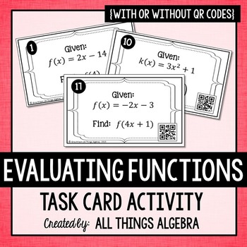 Evaluating Functions Task Cards