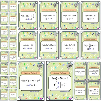 Evaluating Functions – Task cards game.