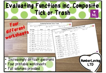 Evaluating Functions (Tick or Trash)