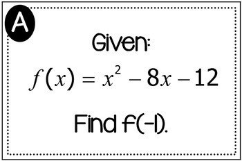 Evaluating Functions Triples Activity