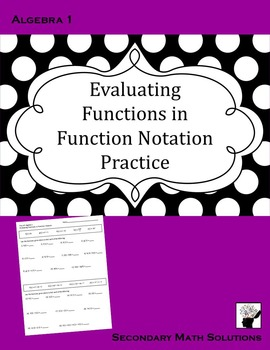 Evaluating Functions in Function Notation Practice