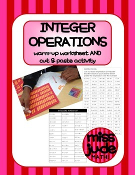 Evaluating Integer Operations warm-up worksheet & cut-and-paste match activity