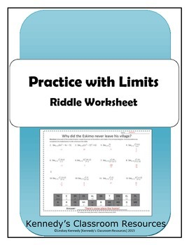 Evaluating Limits as x approaches a Constant - Riddle Worksheet