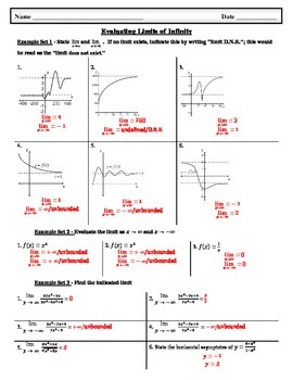 Evaluating Limits of Infinity (includes answer key)