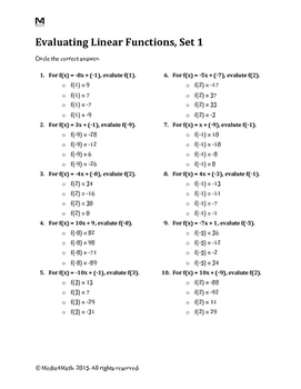 Evaluating Linear Functions--Worksheet Bundle