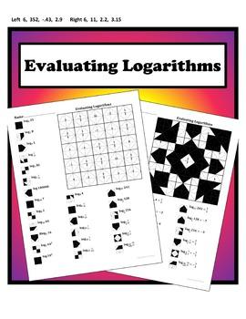 Evaluating Logarithms Color Worksheet