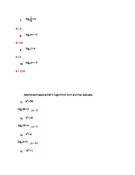 Evaluating Logarithms Quiz