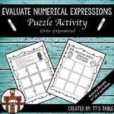 Evaluating Numeric Expressions Puzzle Activity (Order of Operations)