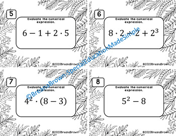 Evaluating Numerical Expression Task Cards with Answer Sheet