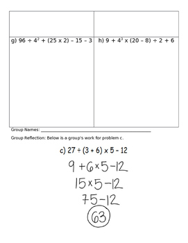 Evaluating Numerical Expressions Group Activity