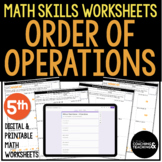 Evaluating Numerical Expressions Order of Operations 5th Grade Math Worksheets