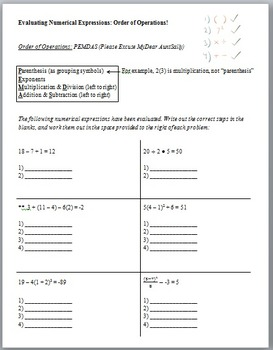 Order of Operations (Guided Notes & Assessment)