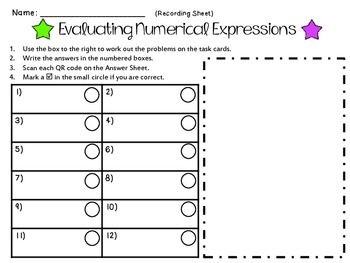 Evaluating Numerical Expressions  **QR CODE Task Cards**
