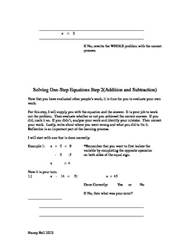 Evaluating One-Step Equations (Addition and Subtraction)
