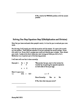 Evaluating One-Step Equations (Multiplication and Division)