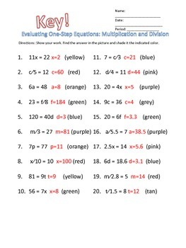 Evaluating One-Step Equations: Multiplication and Division