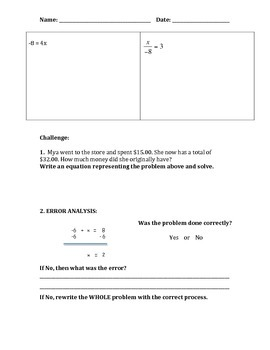 Evaluating One-Step Equations Quiz