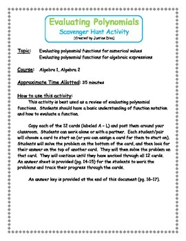 Evaluating Polynomial Functions Scavenger Hunt Activity