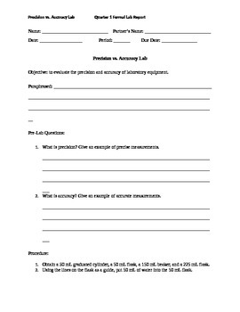 Evaluating Precision and Accuracy of Lab Equipment Formal Lab Report