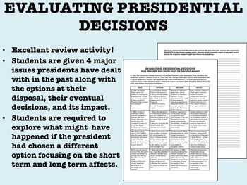 Evaluating Presidential Decisions - US History/APUSH