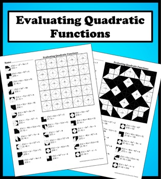 evaluating quadratic functions color worksheet by aric thomas tpt. Black Bedroom Furniture Sets. Home Design Ideas