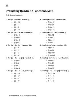 Evaluating Quadratic Functions--Worksheet Bundle