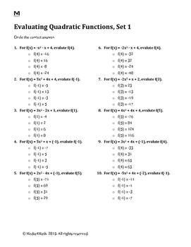 Evaluating Quadratic Functions--Worksheet Bundle