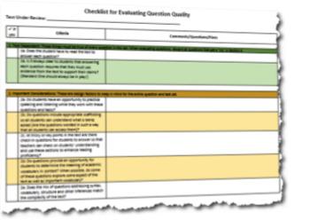 Evaluating Question Quality Rubric Checklist