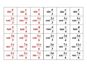Evaluating Radian Trig Functions Arranging Cards