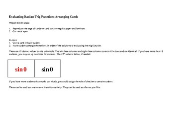 Evaluating Radian Trig Functions Arranging Cards