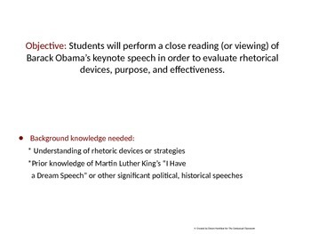 Evaluating Rhetorical Devices in Obama's 2004 Democratic Convention Speech
