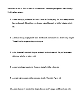 Evaluating Safety of Car Seats and Sleeping Arrangements Worksheet