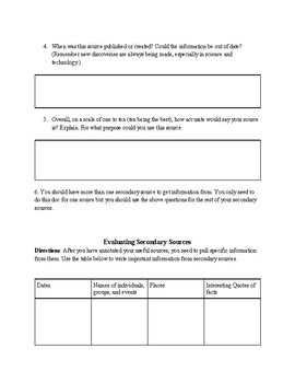 Evaluating Secondary Sources