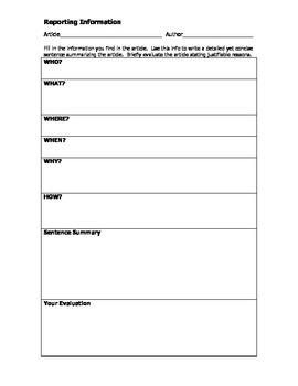 Evaluating Short Nonfiction (current events, etc.)