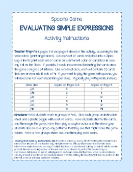 Evaluating Simple Expressions Spoons Game {Back-to-School Review  Icebreaker}