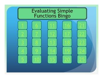 Evaluating Simple Functions Bingo