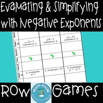Evaluating & Simplifying with Negative Exponents Row Games