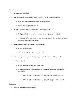 Evaluating Sources Checklist