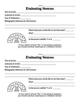 Evaluating Sources Exit Ticket