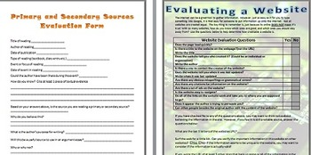 Evaluating Sources: Primary, Secondary, and Websites
