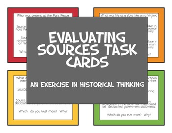 Evaluating Sources Task Cards