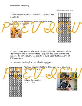 Evaluating Square Roots : Word Problems Wednesday