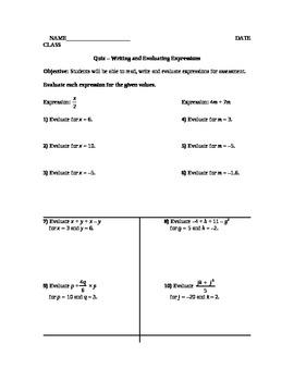 Evaluating & Translating Expressions Quiz