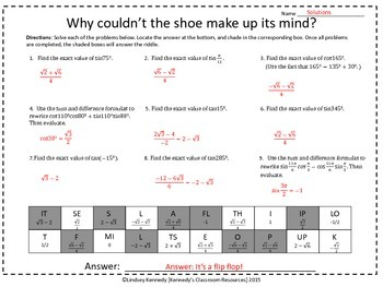 Evaluating Trig Expressions with Sum and Difference Formulas - Riddle Worksheet