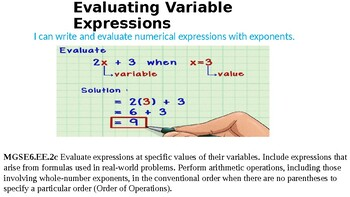 Evaluating Variable Expressions 6.EE.2c Lesson 1