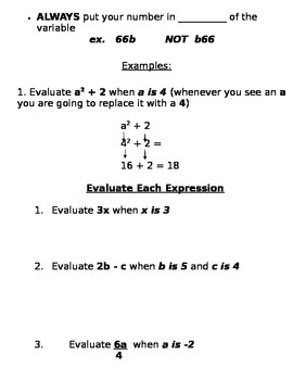 Evaluating Variable Expressions Notes and Assignments