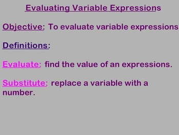 Evaluating Variable Expressions Notes and Assignments on Smart Board