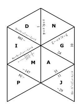 Evaluating Variable Expressions Tarsia Puzzle