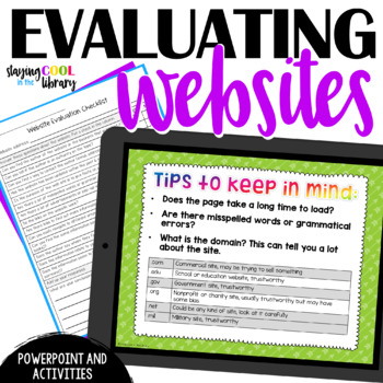 evaluating websites powerpoint and activities by staying cool in the