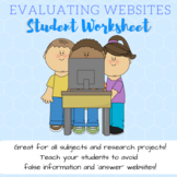 Evaluating Websites and Digital Media Worksheet